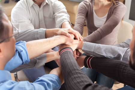 team hands: Multi-Ethnic Group.