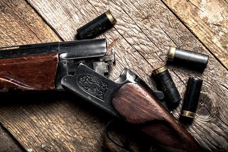 fusil de chasse: Fusil � pompe. Banque d'images