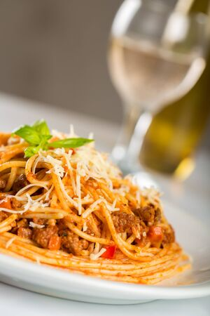 meat sauce: Spaghetti.