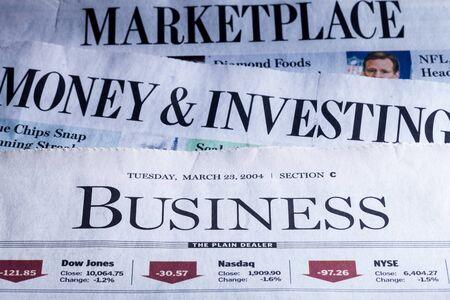 newspaper headline: Newspaper. Stock Photo
