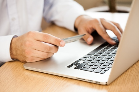 entering information: E-commerce. Stock Photo