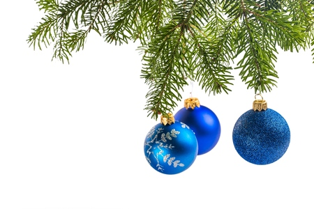 blue and white: Christmas Tree. Stock Photo