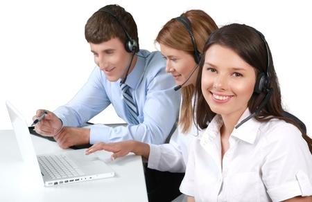 handsfree telephone: Service. Stock Photo