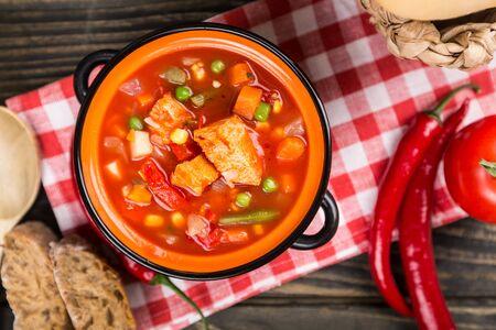 crock pot: Soup. Stock Photo