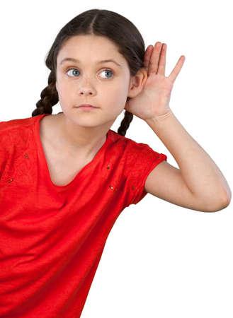 elementary age girl: Listening.