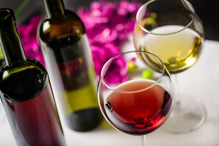 bottle of wine: Wine. Stock Photo
