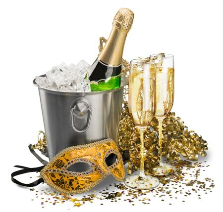 gold flute: New Years Eve. Stock Photo