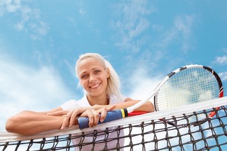 woman looking: Tennis. Stock Photo
