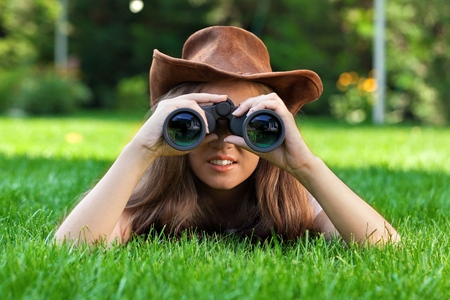 girl scout: Searching. Stock Photo