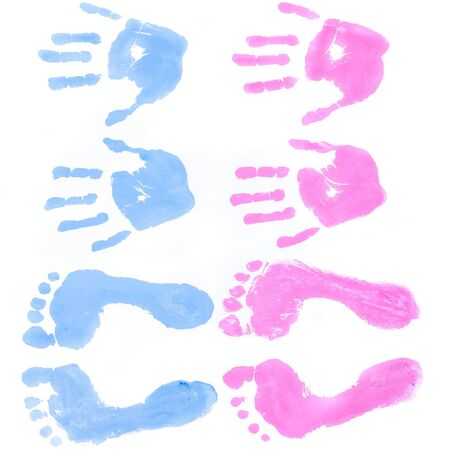baby footprint: Baby foots and hands prints Stock Photo