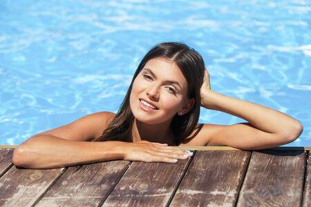 aqua naked: Pool. Stock Photo