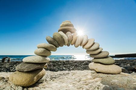 pebbles: Teamwork. Stock Photo