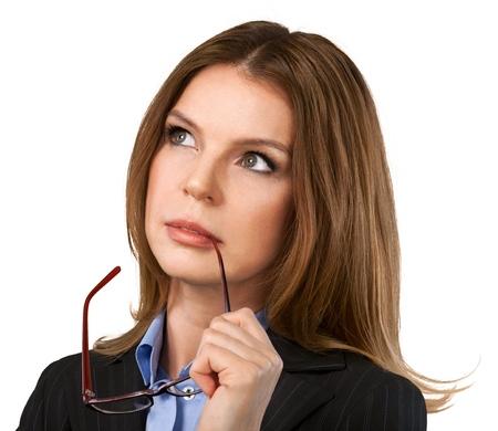 cabeza femenina: Pensando.