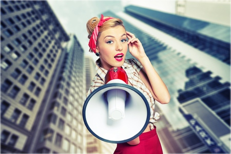 woman shouting: Megaphone. Stock Photo