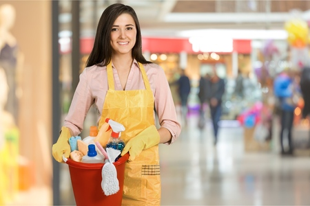 mujer alegre: Limpieza. Foto de archivo