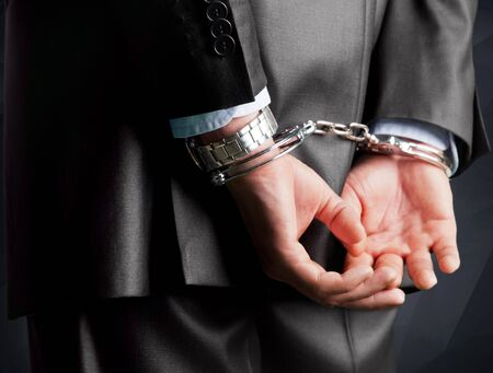 red handed: White Collar Crime. Stock Photo