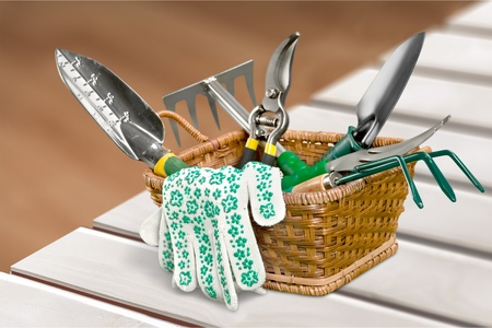 work tools: Gardening Equipment. Stock Photo