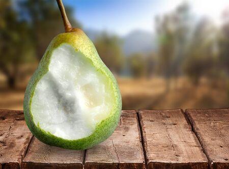 missing bite: Pear. Stock Photo