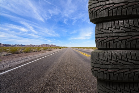 4 wheel: Tire. Stock Photo