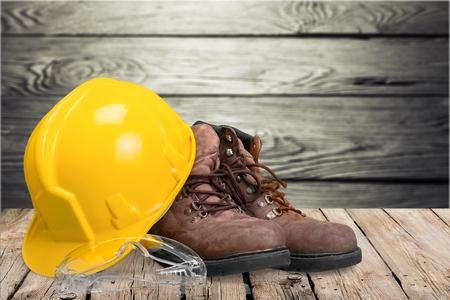 Bauarbeiterhelm. Standard-Bild