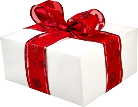 wrapped present: Gift. Stock Photo