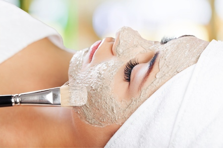 facial spa: Facial Mask. Stock Photo
