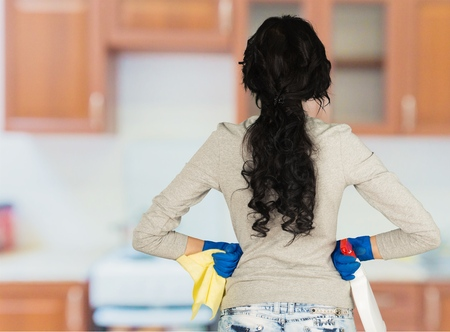back kitchen: Cleaning. Stock Photo
