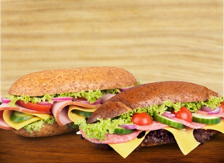 filled roll: Sandwich. Stock Photo