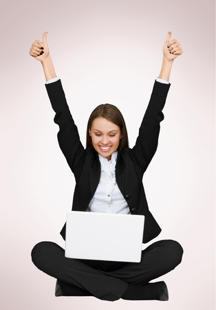 woman business suit: Computer.