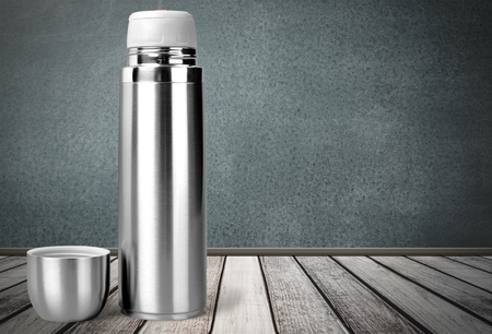 thermos: Camping. Stock Photo