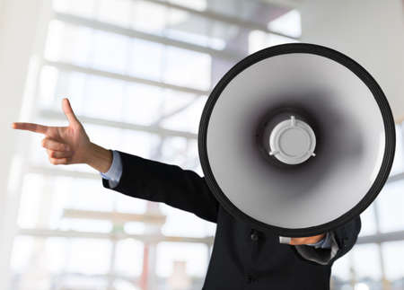 obscured face: Megaphone. Stock Photo