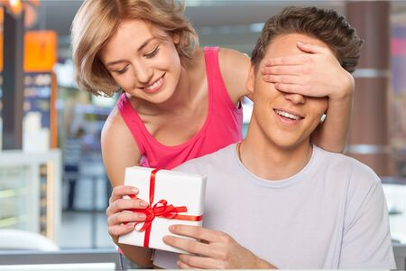 couples in love: Gift. Stock Photo