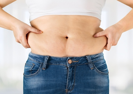 pot belly: Overweight. Stock Photo