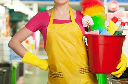 domestic staff: Cleaning. Stock Photo
