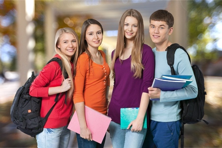 four person only: Student. Stock Photo
