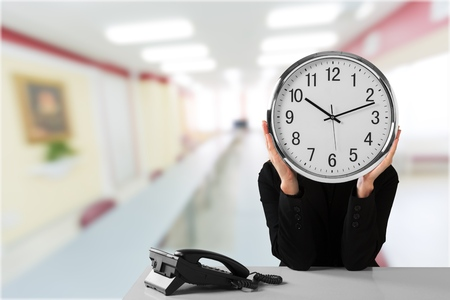 obscured face: Time. Stock Photo