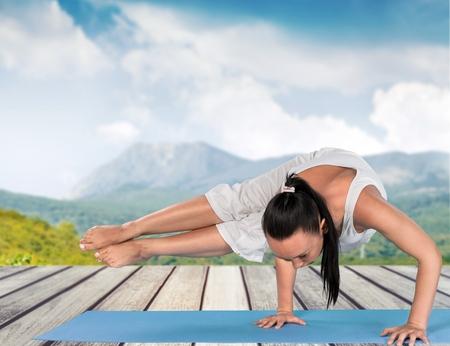 aerobic treatment: Yoga. Stock Photo