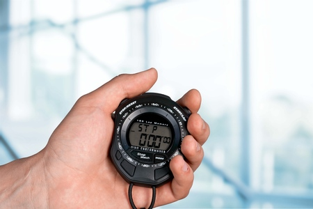 competitive sport: Stopwatch. Stock Photo