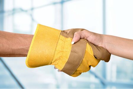 construction workers: Handshake. Stock Photo