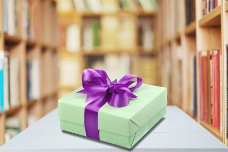 tiffany blue: Gift Box. Stock Photo