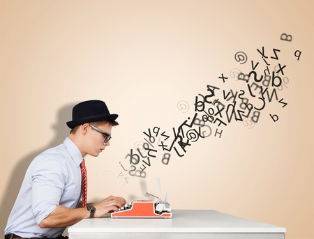 write a letter: Writer. Stock Photo