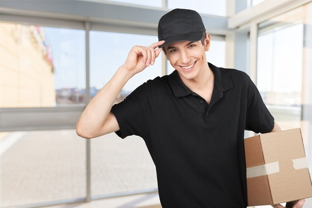 males only: Delivering. Stock Photo