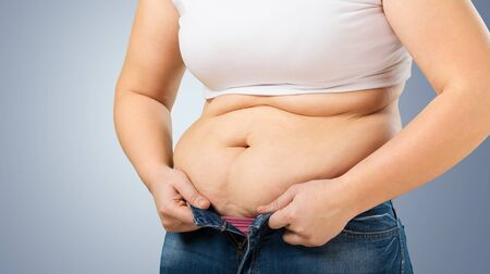 unzipped: Overweight. Stock Photo