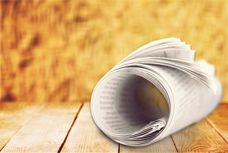 medium close up: Newspaper. Stock Photo