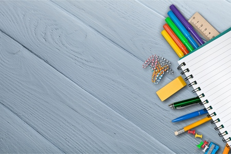 crayon  scissors: Accessories. Stock Photo
