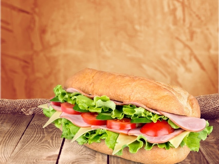 crusty french bread: Sandwich. Stock Photo