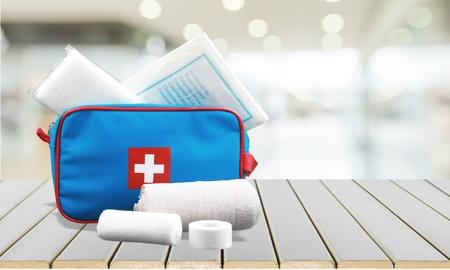 adhesive bandage: First Aid Kit.