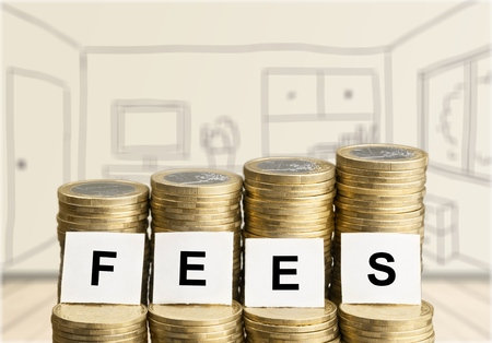 repay: Fees. Stock Photo