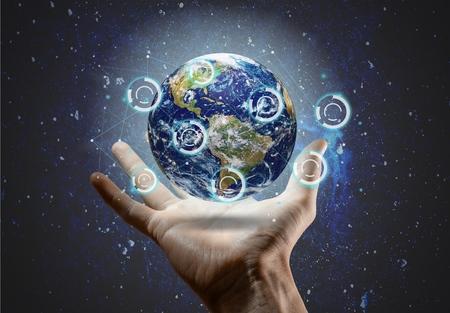 world at your fingertips: Globe. Stock Photo