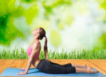 40 45 years: Yoga. Stock Photo